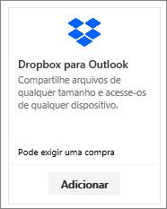 Captura de tela do bloco de suplemento Dropbox para Outlook disponível gratuitamente.