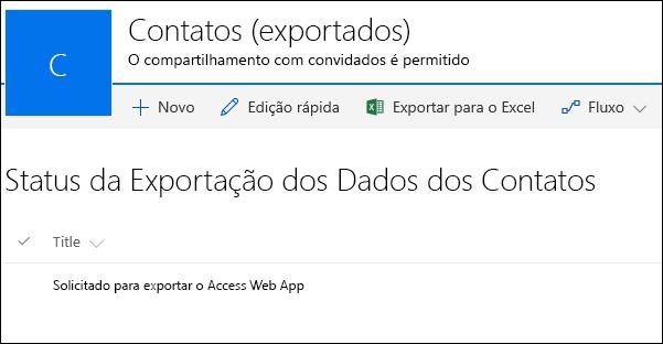 Lista do SharePoint com registro intitulado solicitado para exportar o aplicativo Web do Access