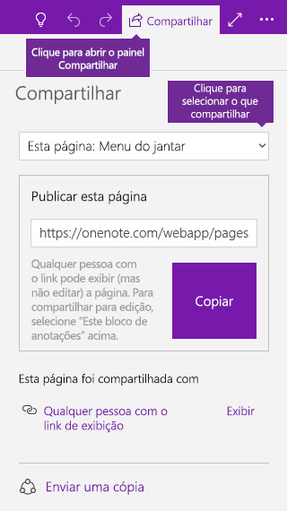 Captura de tela de uma só página sendo compartilhada no OneNote