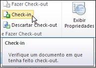 Faixa de opções do SharePoint com cursor apontando para o ícone de Check-in