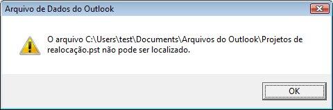 Caixa de diálogo Arquivo de Dados do Outlook (.pst) ausente