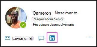 Mostrando o ícone do LinkedIn no cartão de perfil
