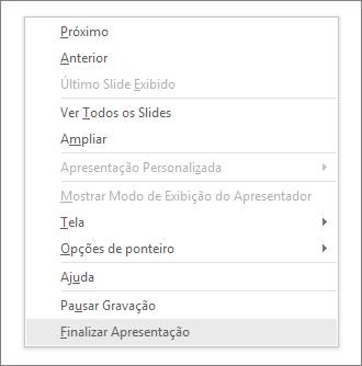 Mostra a opção de finalizar apresentação no PowerPoint