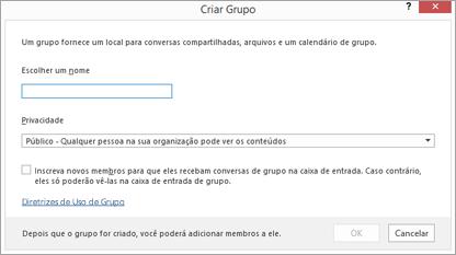 Criar um novo grupo com o link de diretrizes de uso