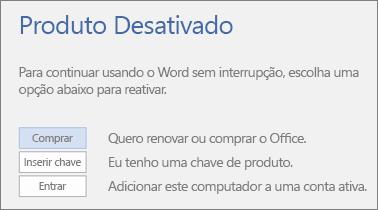Captura de tela mostrando a mensagem de erro Produto desativado