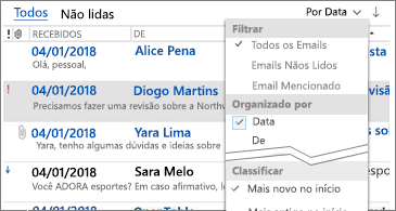 Lista de filtros disponível para classificar mensagens