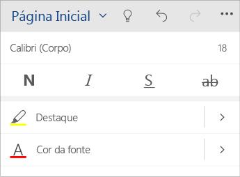 Captura de tela do menu de formatação de texto no Word Mobile.