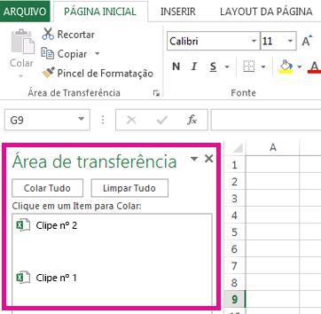 A lista Área de Transferência mostra os itens em sua área de transferência.