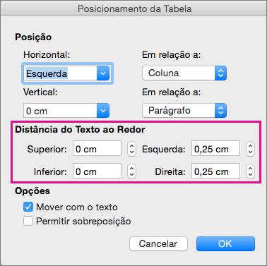 Defina o espaço entre a tabela selecionada e o corpo do texto em Distância do texto ao redor.