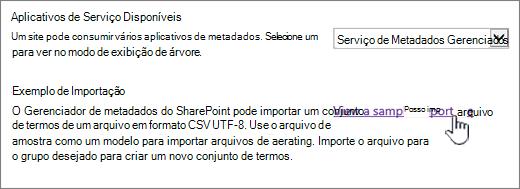 arquivo de importação de exemplo do modo de exibição