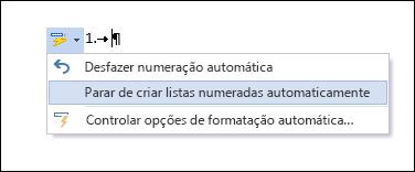 As opções de Numeração são mostradas na AutoCorreção.