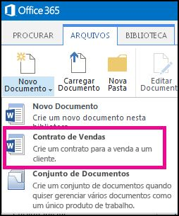Lista suspensa do menu Novo Documento mostrando um tipo de conteúdo Contrato de Vendas.