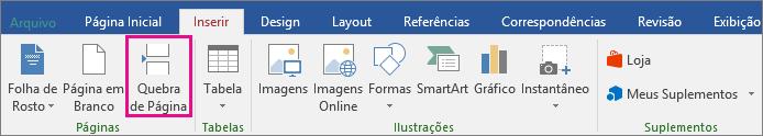 A opção Quebra de página está realçada na guia Inserir.
