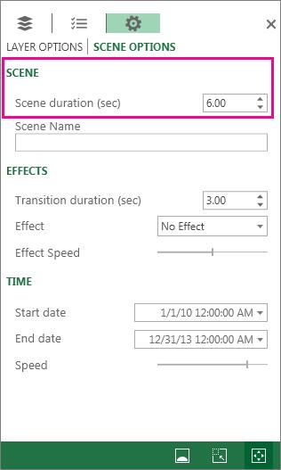 Configuração da duração de uma cena ou tour