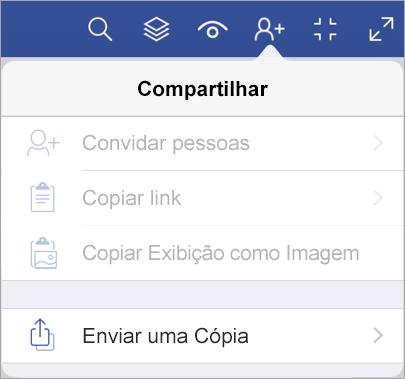 Enviar uma cópia de um arquivo no Visualizador do Visio para iPad