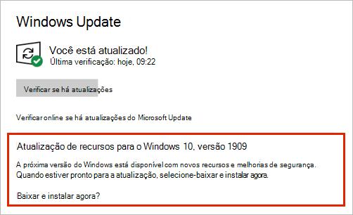 Atualização do Windows mostrando o posicionamento de atualização de recursos