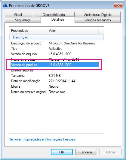 A caixa de diálogo de propriedades de groove.exe mostra a versão de produto do aplicativo de sincronização do OneDrive for Business.