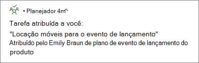Captura de tela: mostrando a notificação por push do Planner enviada em celulares e dispositivos móveis.