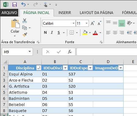 estendendo uma tabela no Excel