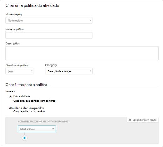 Você pode criar políticas de atividade com segurança de aplicativo de nuvem do Office 365.