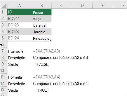 Um exemplo usando a função exato para comparar uma célula com outra