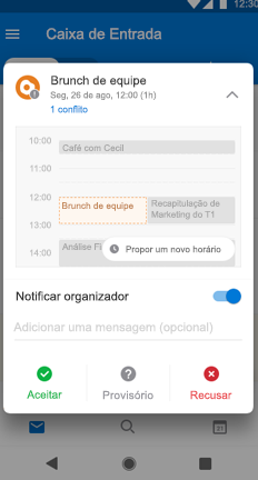 Evento de calendário de brunch com a equipe com o botão Propor Novo Horário