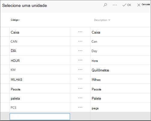 Captura de tela: Selecione uma unidade e a descrição na sua lista de unidade