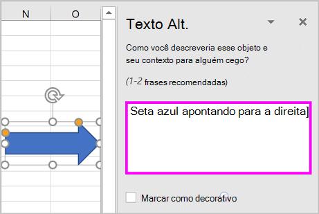 O painel Texto Alt e um exemplo de texto Alt para uma forma de seta.