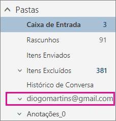 Lista de pastas com conta do Gmail destacada