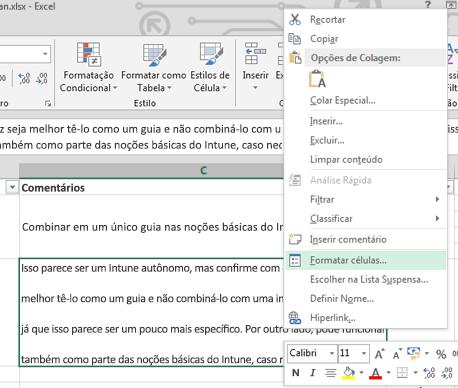 No menu de atalho, clique em Formatar Células.