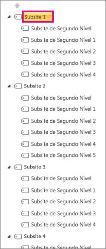 Captura de tela do exemplo de Subsite1