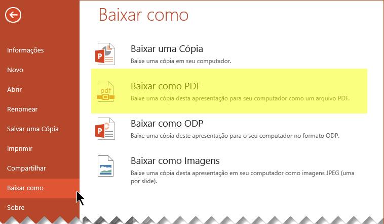Selecione Arquivo > Baixar como > Baixar como PDF