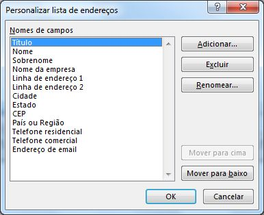 Caixa de diálogo Personalizar Lista de Endereços