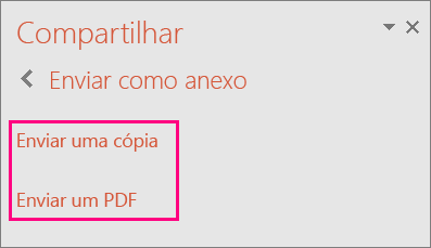 Mostra o link Enviar como PDF no PowerPoint 2016