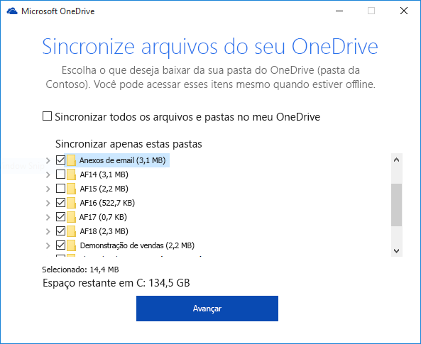 Sincronização seletiva de pastas do OneDrive for Business