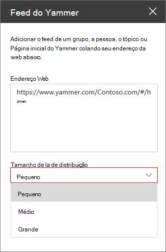Caixa de endereço da Web de feed do Yammer