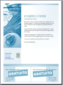 Panfleto com cupons recortados criado no Microsoft Office Publisher 2007
