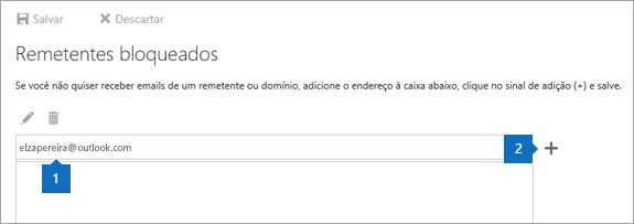Uma captura de tela da página de remetentes bloqueados.