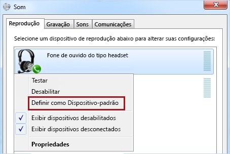 Definir dispositivo como padrão no Windows