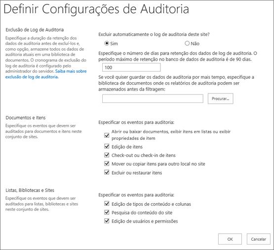 Definir configurações de auditoria na caixa de diálogo Configurações do Site