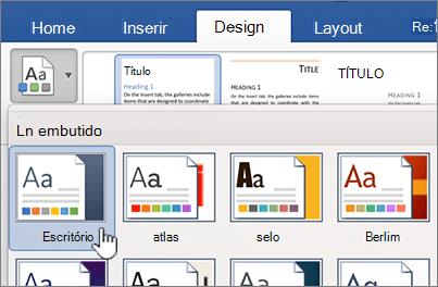 Clique em um tema na guia design