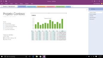 Bloco de anotações do OneNote com uma página de projeto da Contoso que mostra uma lista de tarefas pendentes e um gráfico de barras de visão geral de despesas mensais.
