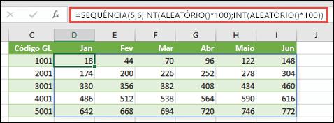 Exemplo de SEQUÊNCIA aninhada com INT e ALEATÓRIO para criar um conjunto de dados de exemplo