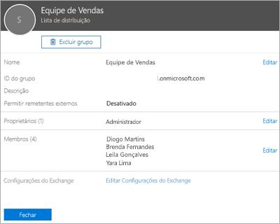 Captura de tela: Adicionar um contato à lista de distribuição