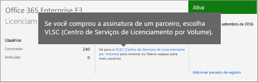 Link do Centro de Serviços de Licenciamento por Volume (VLSC)