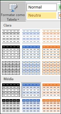 Seleções da Galeria de Estilos do Excel para Formatar como Tabela