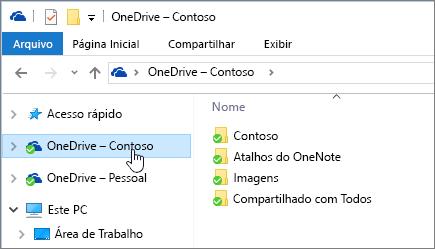 Uma captura de tela mostrando o Explorador de arquivos com a pasta OneDrive for Business selecionada.