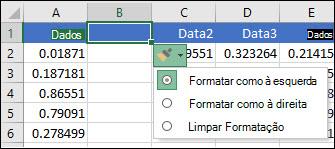 Imagem do botão Opções de inserção que é exibido após a inserção de linhas ou colunas.