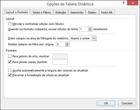 Caixa de diálogo de Opções de Tabela Dinâmica