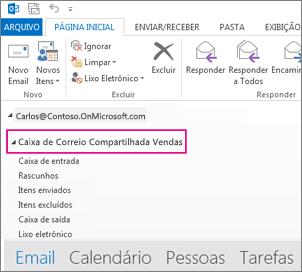 a caixa de correio compartilhada é exibida na lista de pastas no Outlook